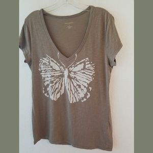 Banana Republic SS Low V Butterfly Tshirt Large